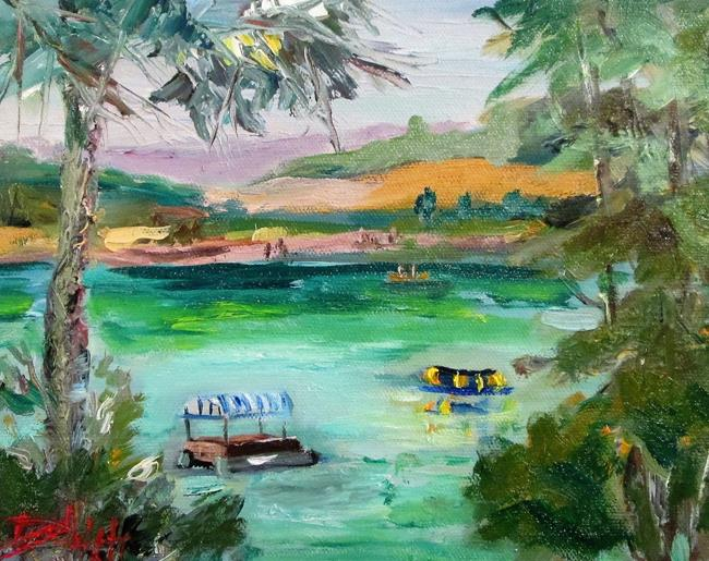 Art: Pontoon Boat on the Lake by Artist Delilah Smith
