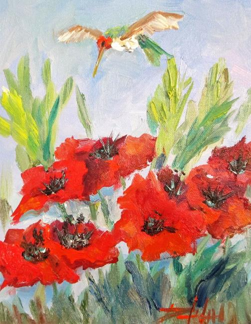Art: Poppies and Hummingbird by Artist Delilah Smith