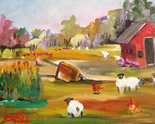 Art: Farm with Sheep by Artist Delilah Smith