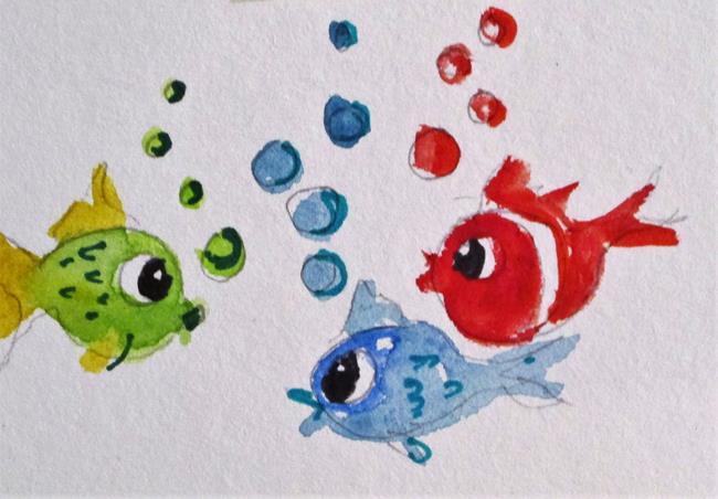 Art: Three Fish by Artist Delilah Smith