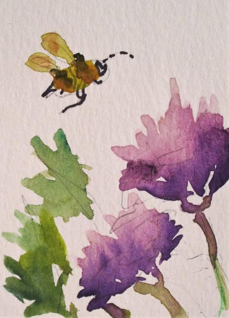 Art: Bee and Wildflowers by Artist Delilah Smith