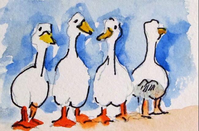 Art: Four Ducks by Artist Delilah Smith
