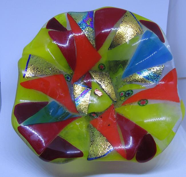 Art: Hand Made Fused Art Glass Unique Wall Hanging Art Glass Wall Flowers by Artist Paul Lake, Lucky Studios