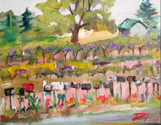 Art: Row of Mailboxes by Artist Delilah Smith
