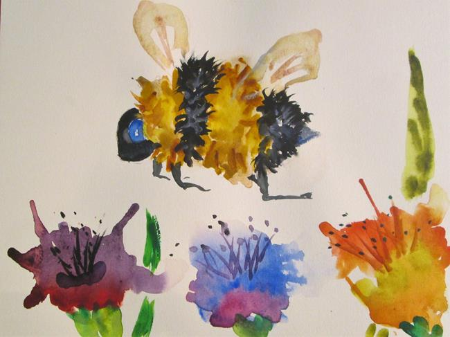 Art: Fat Bumble Bee and Flowers by Artist Delilah Smith