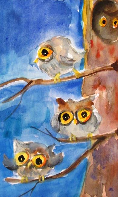 Art: Owls in a Tree by Artist Delilah Smith