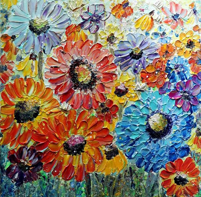 Art: Zinnia Summer Flowers by Artist LUIZA VIZOLI