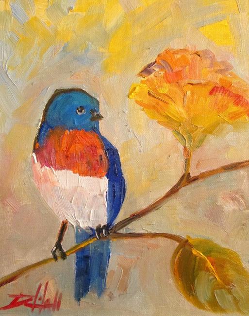 Art: Bird on a Flower by Artist Delilah Smith
