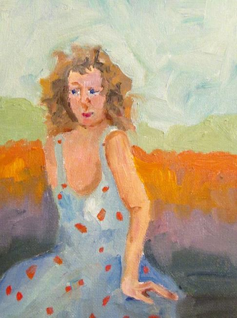 Art: Seated Girl by Artist Delilah Smith