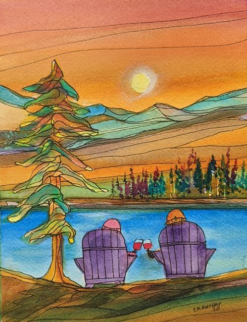 Art: Cheers! (sold) by Artist Kathy Crawshay