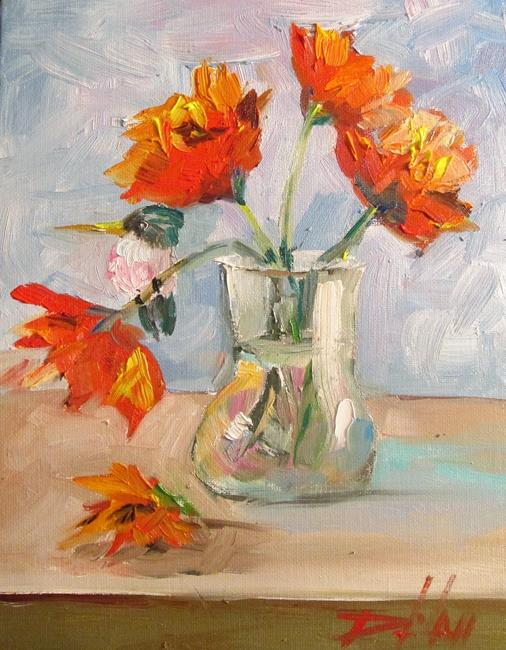 Art: Flowers in a Vase with Hummingbird by Artist Delilah Smith