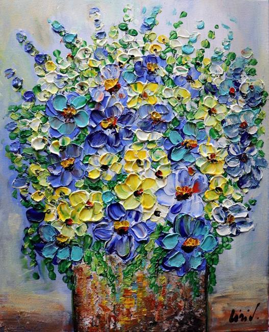 Art: COUNTRY Flowers BLUE BOUQUET by Artist LUIZA VIZOLI
