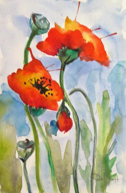 Art: Poppies in the Garden by Artist Delilah Smith