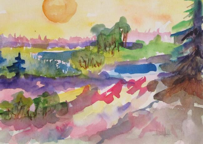 Art: Landscape with Sun by Artist Delilah Smith