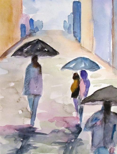 Art: Umbrellas in the Rain by Artist Delilah Smith