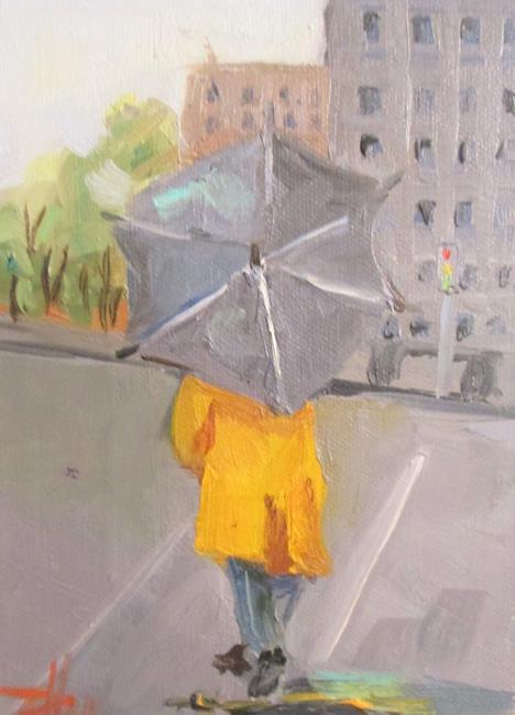 Art: Yellow Rain Coat by Artist Delilah Smith