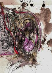 Art: Mixed Media Collage #213thirteen by Artist NoRaHzArT
