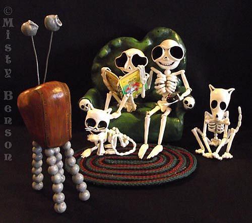 Art: Family Night Day of the Dead Skeleton Sculpture Art by Artist Misty Monster (Benson)