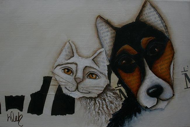 Art: Corgi And Cat by Artist Deb Harvey