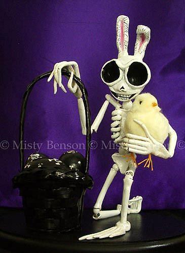 Art: Easter Skelly Art Sculpture by Artist Misty Monster (Benson)