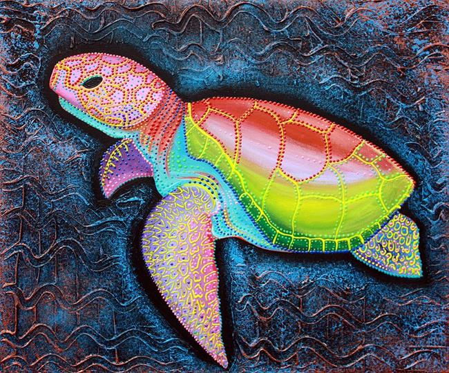 Art: Sea of Portugal Collection Kemp Ridley Sea Turtle by Artist Laura Barbosa