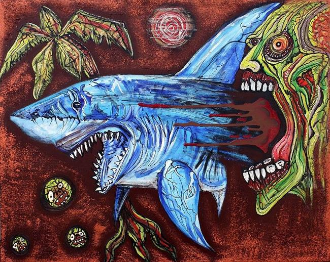 Art: Zombie Eats Shark by Artist Laura Barbosa
