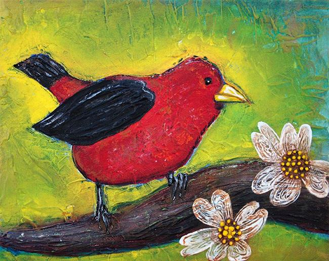 Art: Scarlet Tanager by Artist Laura Barbosa