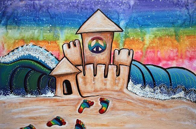 Art: Hippie Sand Castle by Artist Laura Barbosa