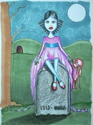 Art: Grave Sitting by Artist Sherry Key