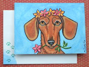 Detail Image for art Flowers and Dachshund Card