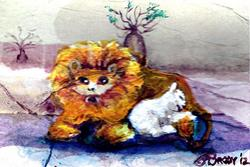 Art: And the Lion Shall Lie Down with the Lamb (sold) by Artist Judith A Brody