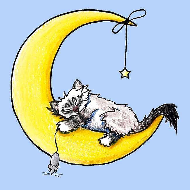Art: Ragdoll Kitty Nursery Cat & Mouse Art by Artist KiniArt