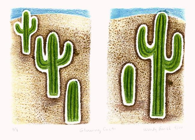 Art: Glowing Cacti by Artist Wendy L. Gonick