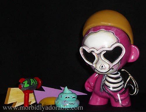 Art: Love Goggles Skelly Munny -Skeleton Doll Art by Artist Misty Benson