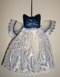 Art: TINY BLACK ANGEL CAT Ornament DOLL Folk Art HOLIDAY by Artist Cyra R. Cancel