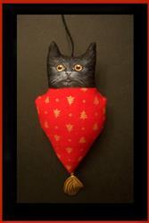 Art: TINY BLACK CAT Ornament DOLL Folk Art HOLIDAY by Artist Cyra R. Cancel
