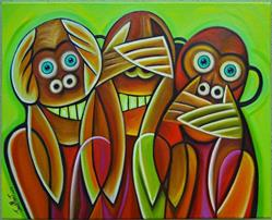 Art: 3 wise monkeys 2 by Artist Javier Martinez