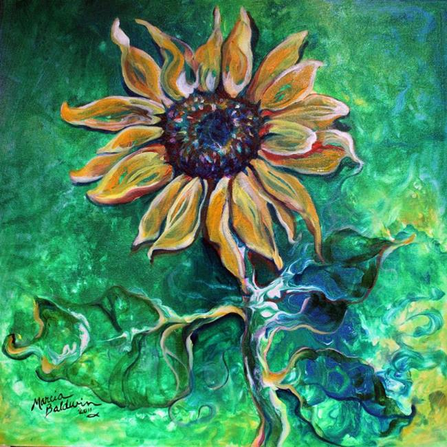 Art: E-SUNFLOWER-GREEN-ABSTRACT-.jpg by Artist Marcia Baldwin