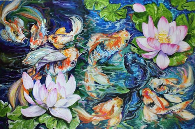 Art: NINE KOI & LOTUS Commission by Artist Marcia Baldwin