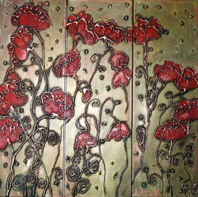 Art: RED POPPIES in the EMERALDS SUNSET-SOLD by Artist LUIZA VIZOLI