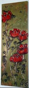 Detail Image for art RED POPPIES in the EMERALDS SUNSET-SOLD