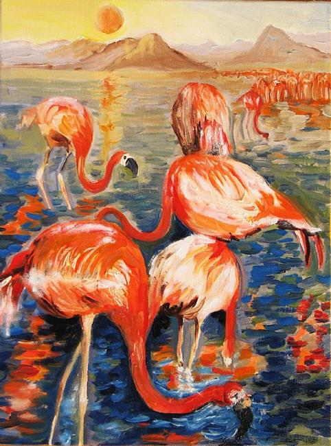 Art: Etude of flamingos by Artist Luda Angel