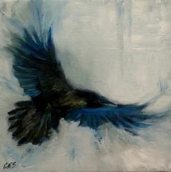 Art: Raven Study by Artist Christine E. S. Code ~CES~