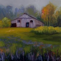 Art: Wildflowers and Old Barn by Artist Christine E. S. Code ~CES~