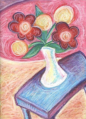 Art: Happy ~ White Vase by Artist Christine Wasankari