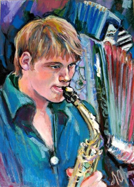 Art: Playing music by Artist Luda Angel