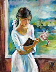 Detail Image for art Sketch of girl with a book