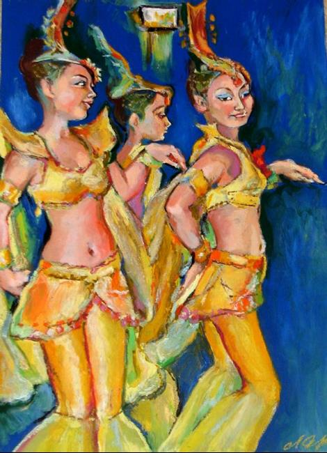 Art: Asian Dancers - Trio  by Artist Luda Angel