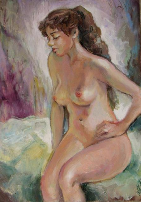 Art: Sitting Nude Model by Artist Luda Angel