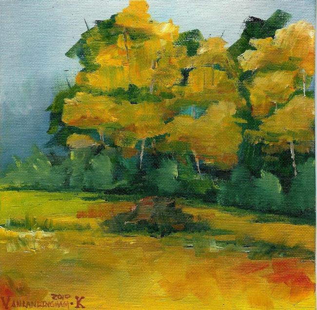 Art: Fall Pasture in the Rain (Sold) by Artist Kimberly Vanlandingham
